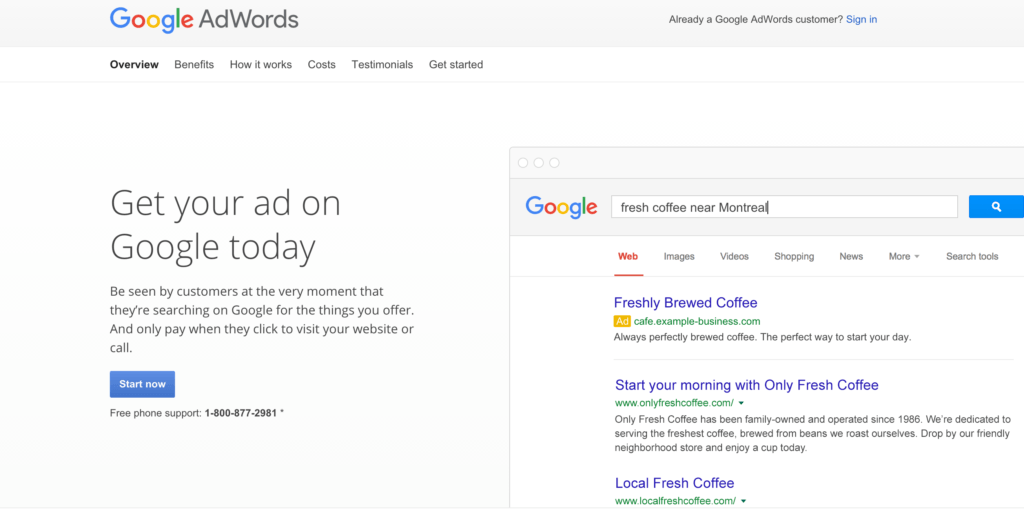 Google Adwords Landing Page
