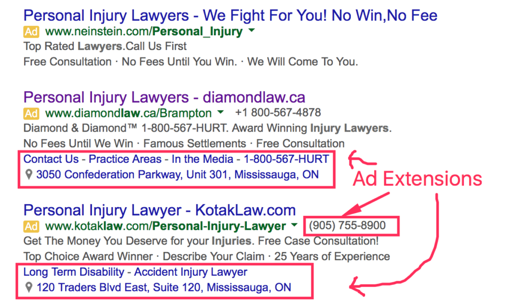 Ad Extensions Example Adwords