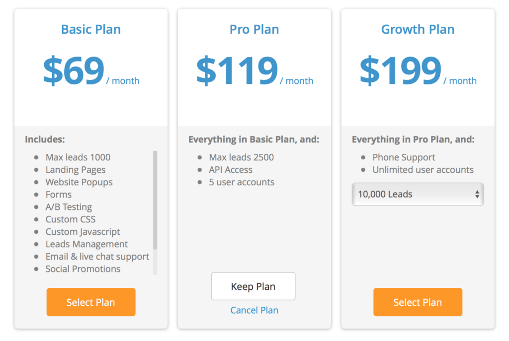 Wishpond Pricing Table