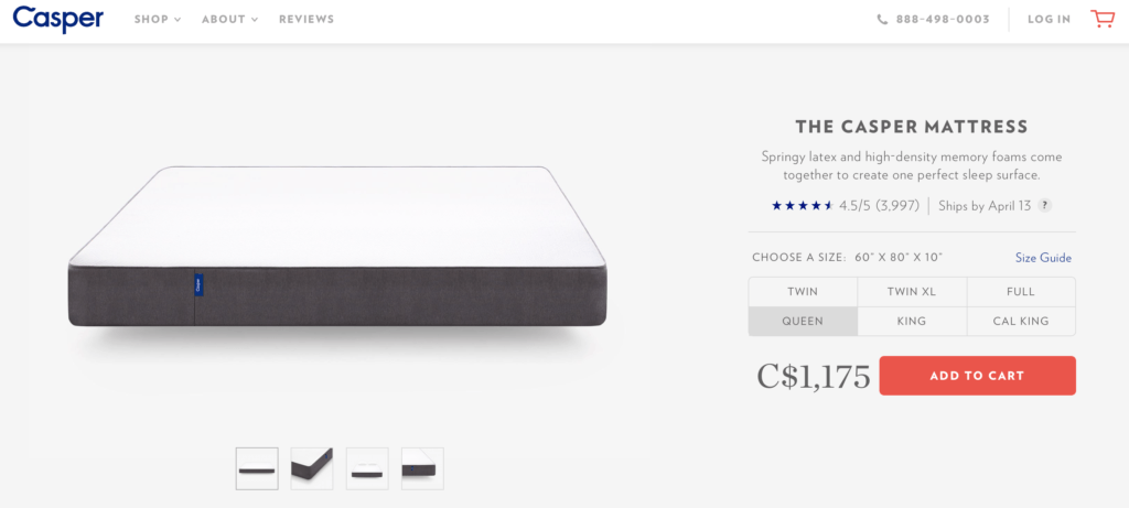 Casper Pricing Page