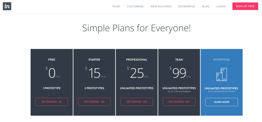 Invision Pricing Page