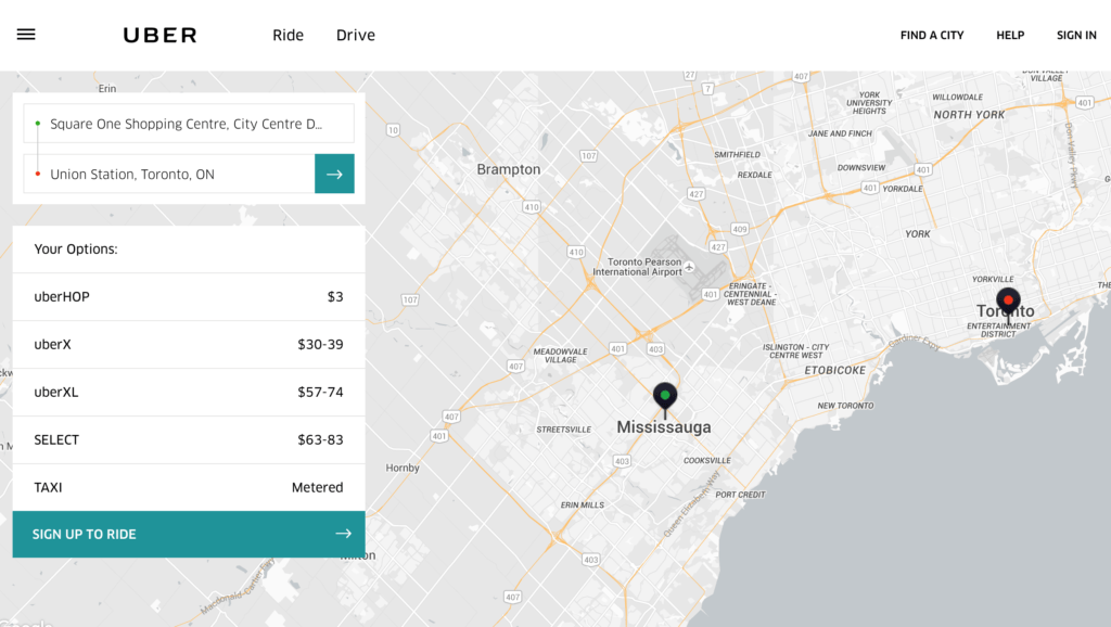 Uber Fare Estimate
