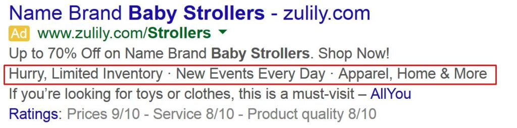 callouts in adwords marked
