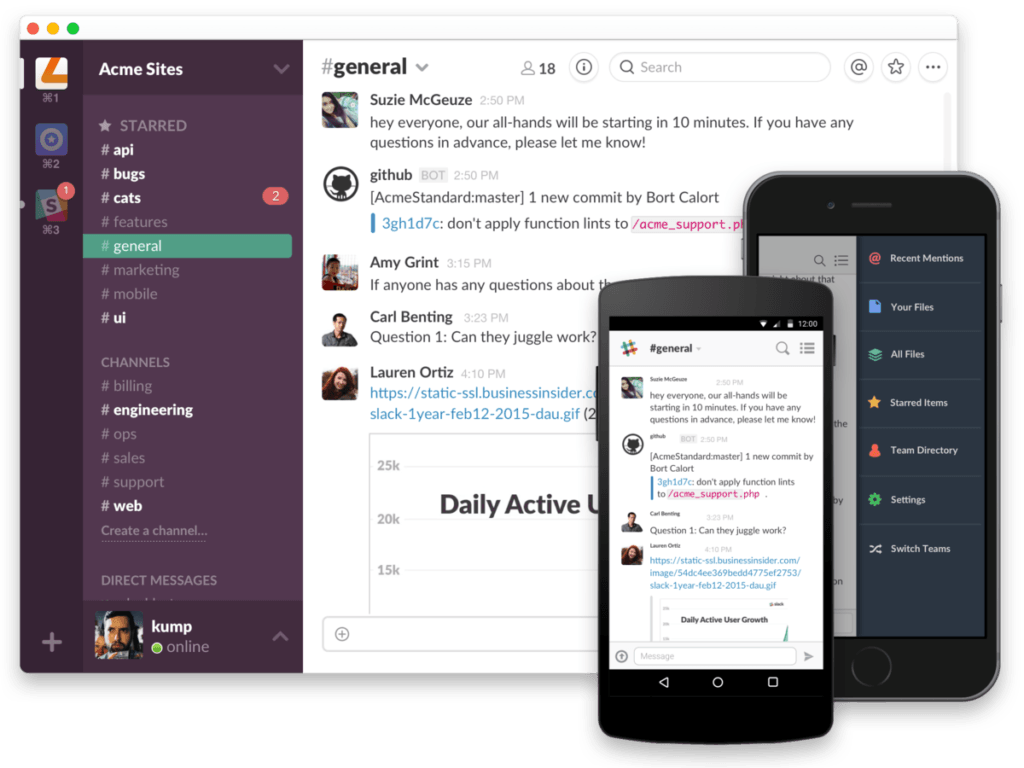 slack across devices
