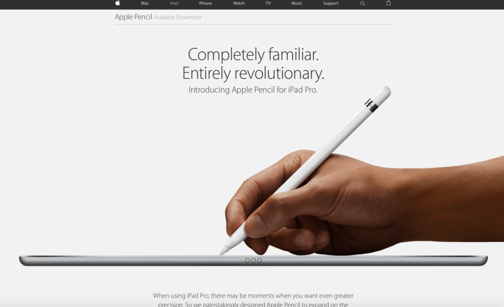 Apple Pencil Landing Page