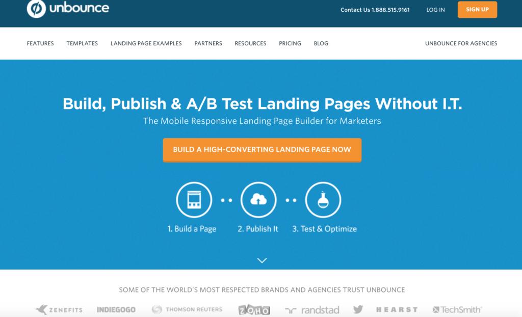 Unbounce Homepage Landing