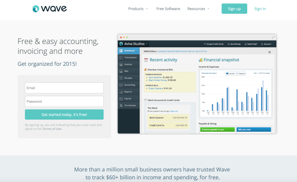 Wave Homepage Signup Landing