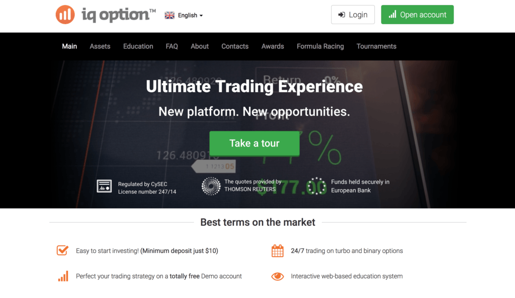 iQ Option Landing Page