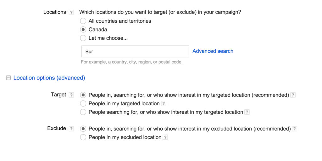 Adwords Location Settings