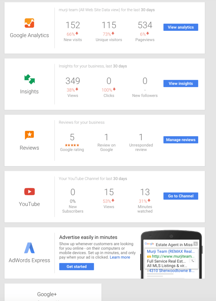 Dashboard for Google My Business