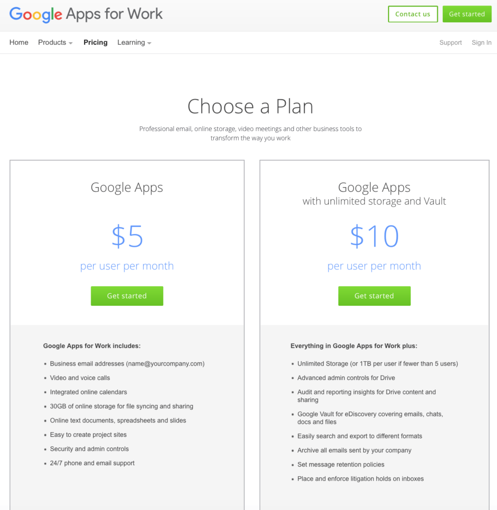 Google Apps Pricing Page