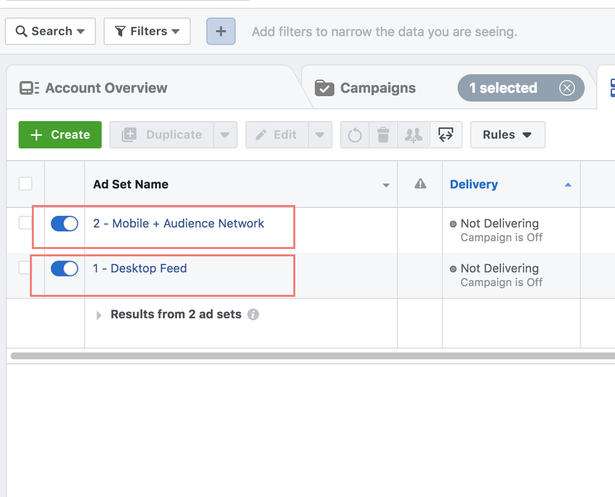 Adset split facebook ads example