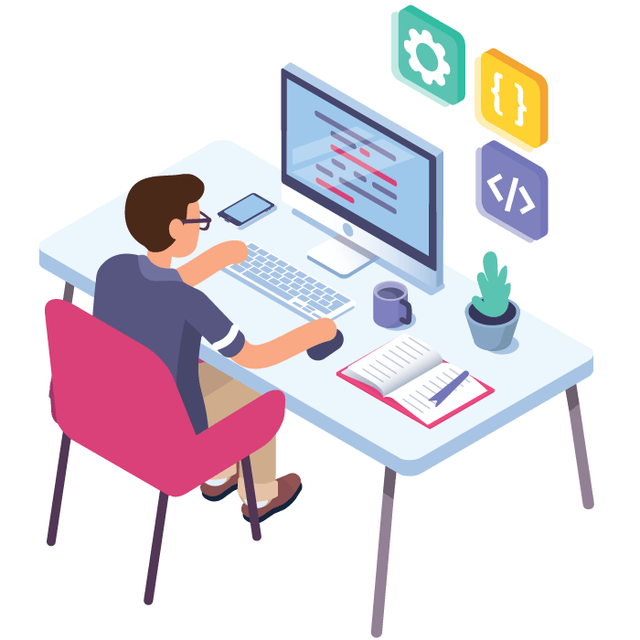 digital marketing workflow isometric