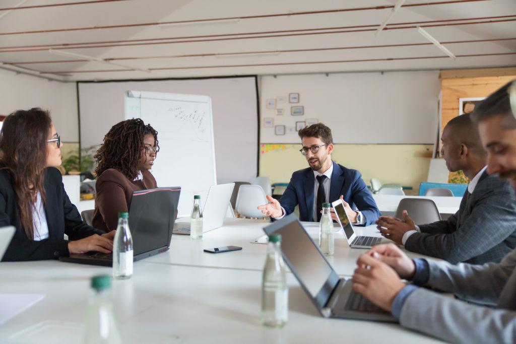 marketing team working together